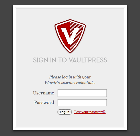 Screenshot of the login form