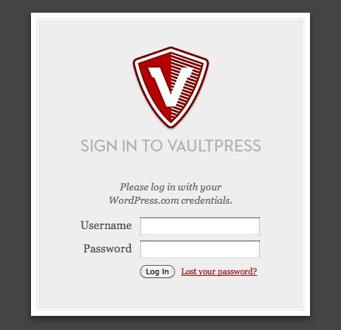 Screenshot of the login form