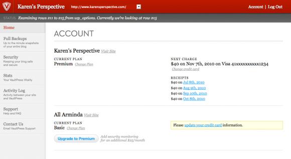 Screenshot of VaultPress account page