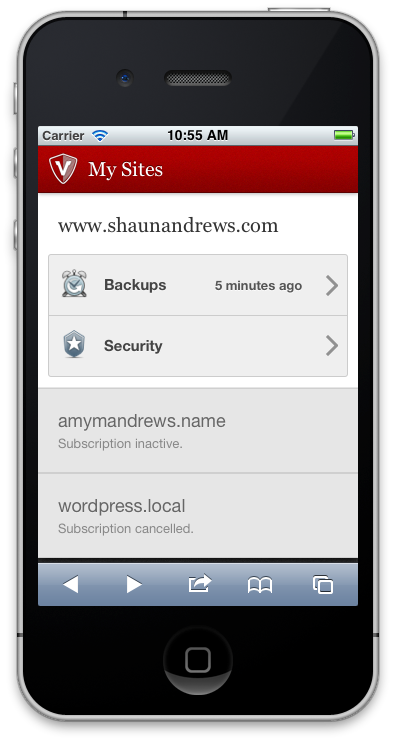 The mobile VaultPress dashboard.